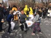 NYU News Pillow Fight in Washington Square Park Benefits Underprivileged Youth for New York University Students in New York, NY
